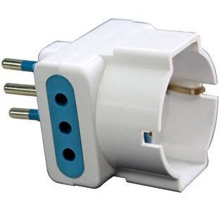 Adapter Triple 2P + T10A 2 sockets + 1 Schuko Maurer