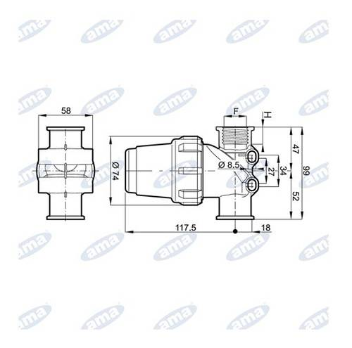 """In Line Filter Female Thread 1/2 """"Stainless Steel Filter 80 Mesh 73712 Ama"""