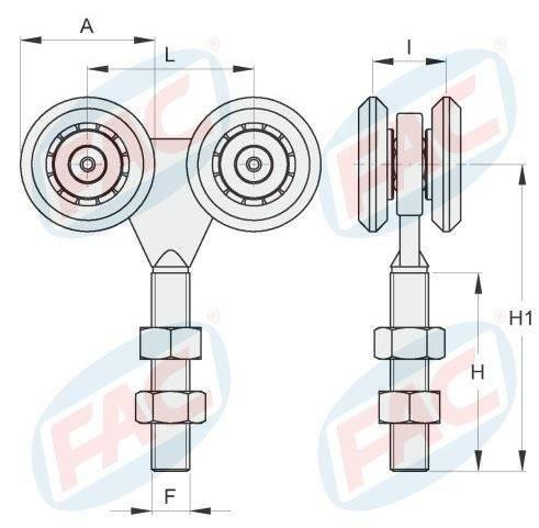 Cart Wheels Sliding 4 VB3202.024 FAC
