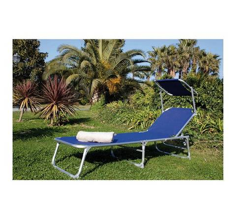 Sun Lounger Beach Chairs Sea Pool Aluminum with Parasol 55392 Papillon