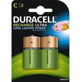 2 Pile Ricaricabili C HR14 2200mAh Duracell