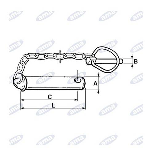 Pin for Third Point ø25X120 mm with Click Pin 00179 Ama