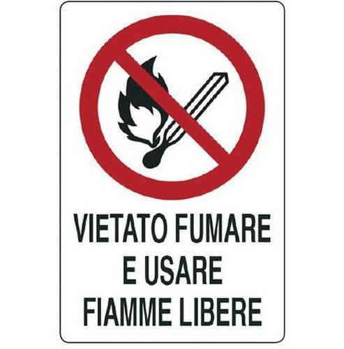 No Smoking and Use Free Flames Aluminum Sign cm.20x30