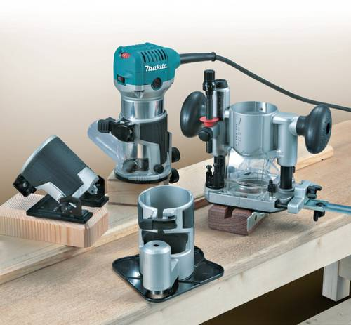 Milling Makita trimmer RT0700CX3J with 4 Interchangeable Bases