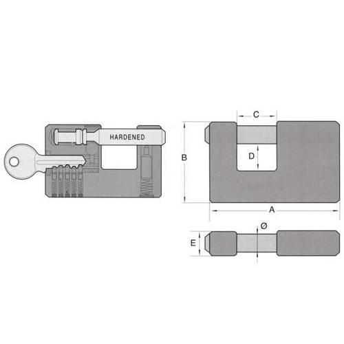 Rectangular Padlock Brass IBMF