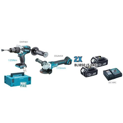 [DLX2155TJ1 Kit Makita] drill precussione DHP481 + grinder DGA454 + 2 Batteries 5.0Ah + Charger