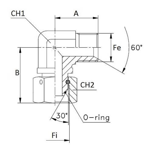 Adapter M / F Curve 90 °
