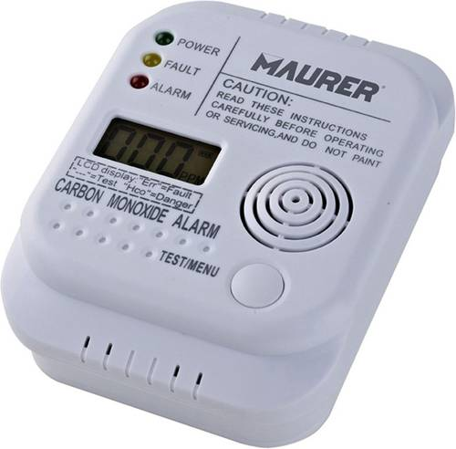 Battery-powered Carbon Monoxide Sensor Detector Art.096161 Maurer