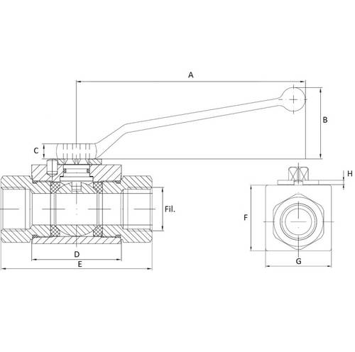 "Ball valve with 2-way 3/8 ""05177"