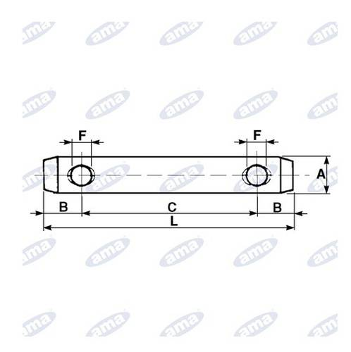 Pin for Third Point ø 19 mm Length 170mm 00272 Ama