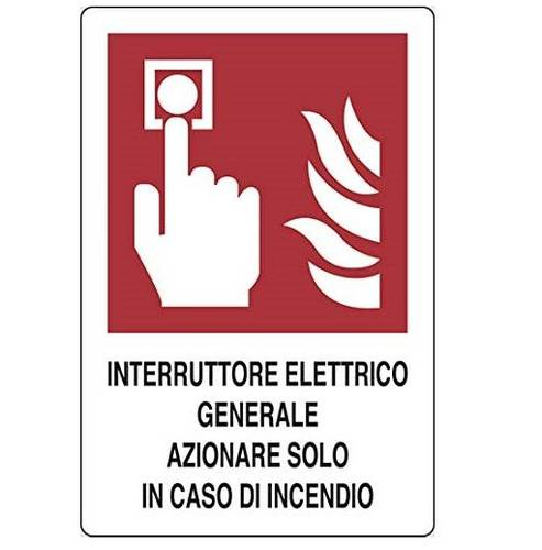 "Aluminum sign ""General Electric Switch Operate Only in Case of Fire"" cm.20x30"