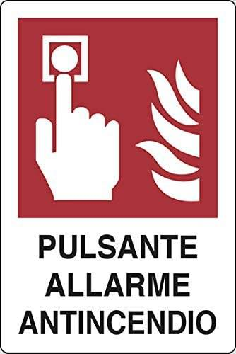"Aluminum Sign ""Fire Alarm Button"" cm.20x30"